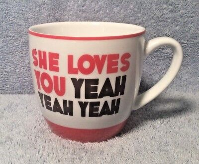 BLUW Beatles Song Novelty Coffee Tea Cup SHE LOVES YOU YEAH Red White EUC