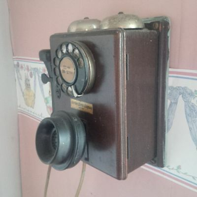Vintage Northern Electric Company Limited Wooden Wall Phone