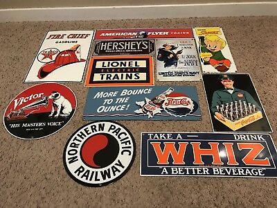 Lot 11 Porcelain Ande Rooney Advertising Signs Gas Coke Trains Pepsi + More