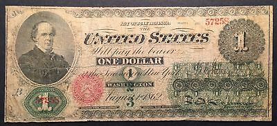 1862 One Dollar Bill $1 United States Legal Tender Large Note