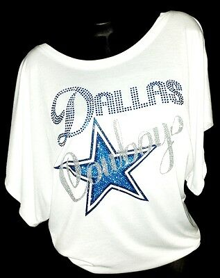 "Dallas Cowboys White Flowy Draped Slv. Dolman Tee~"" Blue Crystal Dallas"""