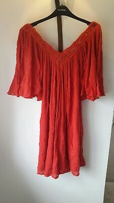 Vintage Red gauze boho folk gypsy mexican ethnic dress peekaboo topshop vintage