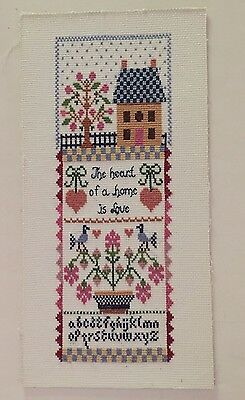 Sampler The heart of a home is Love Alphabet vintage cross stitch flowers house
