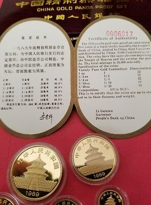 China 1989 5 Coin 1.9 oz Gold Panda Proof Set with box and certs