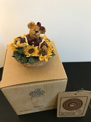 """Boyds Bears Candle Topper small  """"Minnie..Sunflower Surprise""""  #651254-1 - New"""
