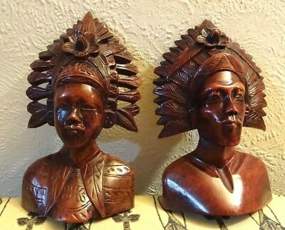 Vintage Superb Pair Of hand Carved Hardwood Heads Bali/Polynesia/Borneo