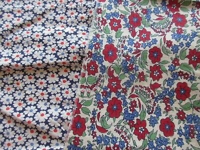 "Antique/Vintage Fabric - 2 pieces - Blue & Red - Unknown Age - 24"" and 25"" wide"