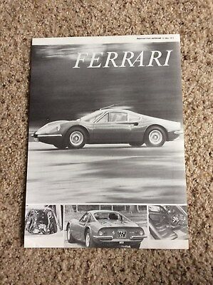 1971 ferrari Dino 246-GT auto car reprint handout at the auto shows