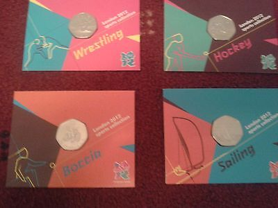 RARE OLYMPIC 50p coins, new on cards, blister protected cover