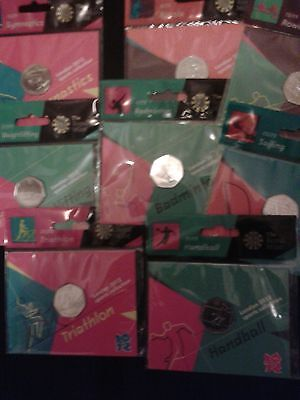 RARE OLYMPIC 50p coins, all new and sealed in Royal Mint hanging bags