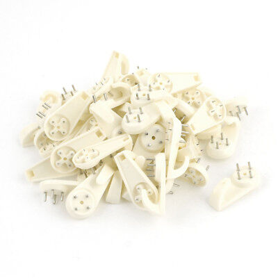 50 Pcs Beige Wall Mount Non-mark Hooks Picture Photo Frame Hangers SS