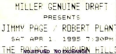JIMMY PAGE / ROBERT PLANT 1995 Ticket Stub – The Palace at Auburn Hills