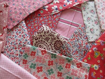 Antique/Vintage Fabric - Pink & Red Scraps - Unknown Age