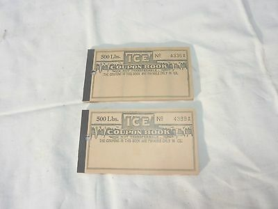 2 vintage ice coupon books with stamps generic good for 500 pounds
