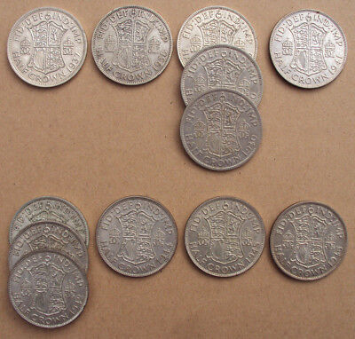 George VI silver half Crowns - choice of dates