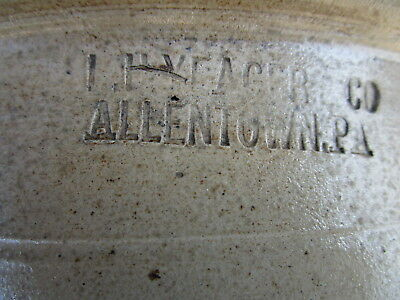 Vintage Antique Salt Glazed Ovid Bowl Crock Signed L H Yeager Co. Allentown PA
