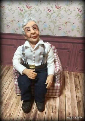 Ooak  12Th Scale  Miniature Dollhouse Grandad Character Doll