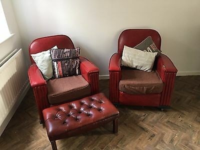 2x Vintage 1930's Art Deco Club Chairs with foot stool
