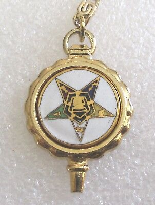 Vintage Order of the Eastern Star Key Charm on Long Chain-Masonic OES