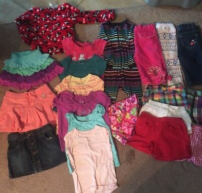 20pc Girls Size 2T Lot Of Clothes Spring Summer Tops , Pants, Skirt