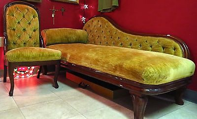 Antique Victorian Fainting Couch (Swan Couch, Settee, or Chaise Lounge)