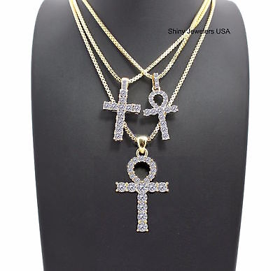 Mens Gold Egyptian Key Of Life Ankh Cross Box Chain 3 Necklace Set