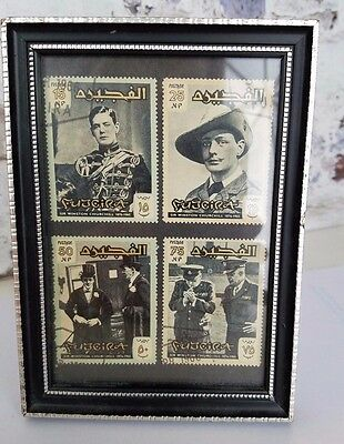 WINSTON CHURCHILL Fujeira Set of 4 Framed Perforated Stamps 1966
