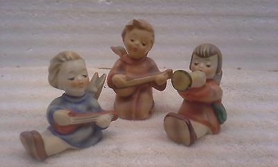 Goebel 3 Inch Angel Band Figurine Lot of 3 From West Germany Hummel
