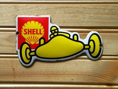 """SHELL RACE CAR OLD PORCELAIN SIGN ~5-1/2"""" x 3-1/8"""" GAS STATION OIL PUMP LUBESTER"""
