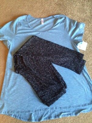 Lularoe Womens Plus Blue 3X Classic-T Tunic With TC Black And Blue Leggings