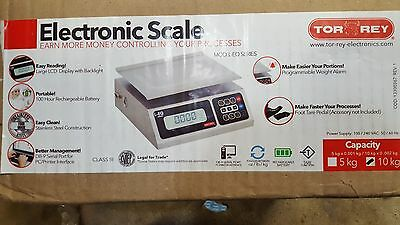 NEW! TOR REY PORTION CONTROL ELECTRONIC SCALE LEQ 10KG/22lb LEGAL FOR TRADE