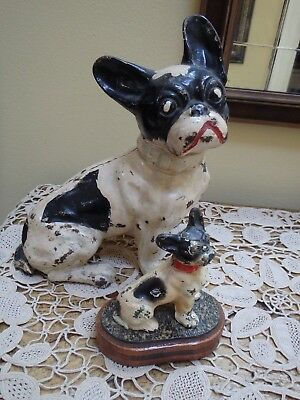 Antique Pair Cast Iron Hubley Door Stop Paper Weight~ French Bull Dogs