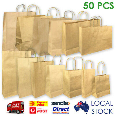 50 x KRAFT Brown Paper Bags - with Handle|Shopping Bags|Gift Bags 13 Sizes