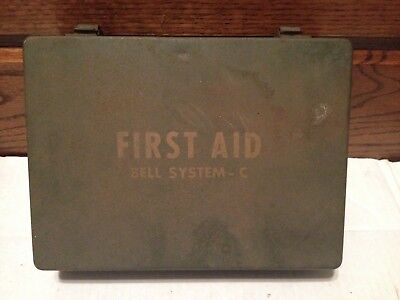 Vintage Bell System - C First Aid Kit Metal Box Army Green Empty