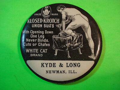 Celluloid Advertising Pocket Mirror Klosed-Krotch Union Suits Newman, Ill.