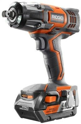 RIDGID Impact Wrench Kit X4 Cordless Compact 18V 1/2 in. Tri-Beam LED Light