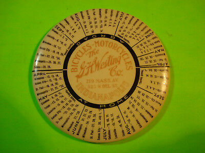 Celluloid Advertising Pocket Mirror Gh.westing Bicycles-Motorcycles Baseball Sch