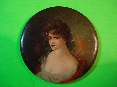 Celluloid Pocket Mirror Beautiful Woman Low Cut Top Brothel House?