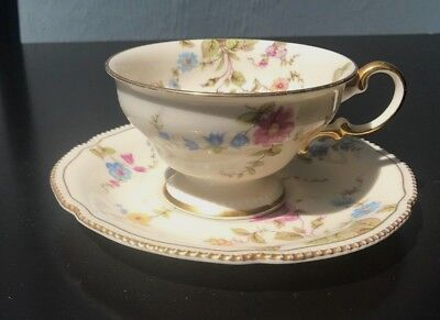 Beautiful Pastel Floral Print Vintage Tea Cup and Saucer with Gold Trim