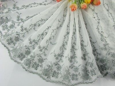 "9""*1yard delicate  embroidered flower tulle lace trim for DIY 0163"