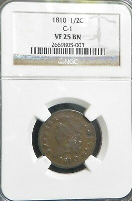 1810 US Half Cent, NGC VF25BN, C-1, RARELY OFFERED, Don't Miss This Opportunity!