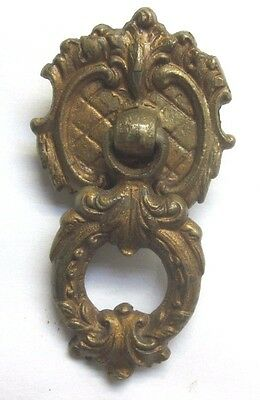 Vintage Victorian antique cast brass drop bail pull handle 4111 diamond pattern
