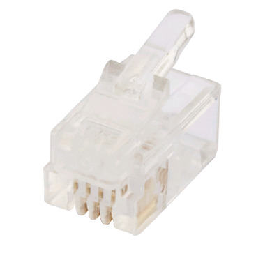 RJ12 Plug Round Solid 6P4C 10 Pack ACA Approved