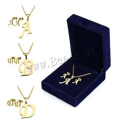 Stainless Steel Jewelry Set Women 26 ABC Pendant Necklace & Ear Stud Earrings