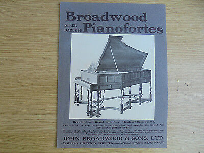 1903 advert,broadwood steel barless pianofortes, john broadwood & sons,,