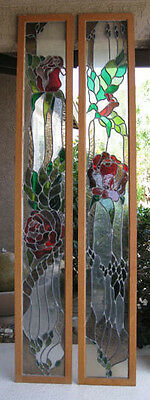 Stained Glass Windows Vintage Red Rose One-of-a-Kind Door/Cabinet Panels Large!