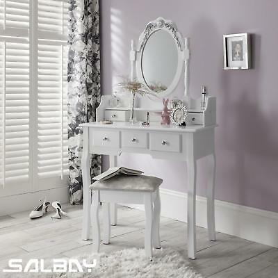 White Dressing Table 1 Mirror, 5 Drawers Vanity Makeup Desk Set with Stool