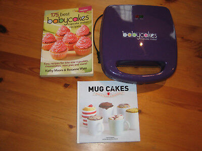 EUC BabyCakes Mini Cupcake Muffin Maker (Purple) + Cupcake & Mugcake Cookbook