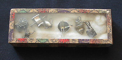 Vintage Asian/chinese Charms Lot Of 6 1950S Silver 7.4G Orig. Box W/ Glass Top