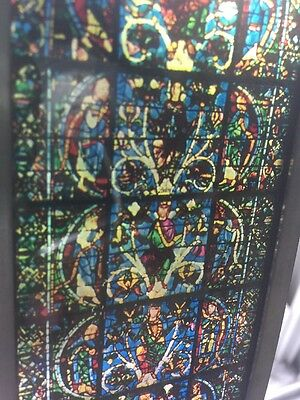 Vintage Stain Glass Window Sun Catcher Church Religious Scenes Nativity